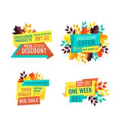 mega discount with big sale promo emblems set vector image