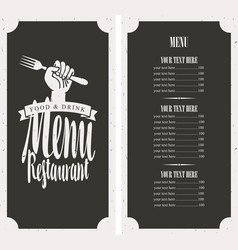Menu on black background with fork in hand vector