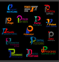 Modern color corporate identity p trend icons vector