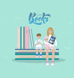 mother and children with books vector image