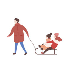 Mother drawing sled with her children parent and vector