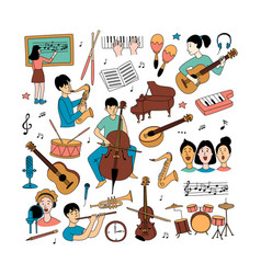 Music lessons students different musical vector