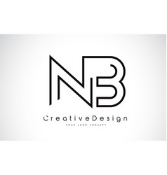 Nb n b letter logo design in black colors vector