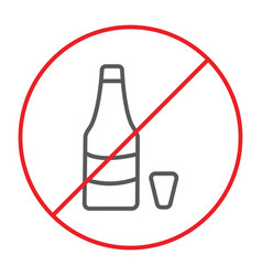 no alcohol thin line icon prohibited and ban no vector image