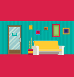 office room door corridor waiting hallway flat vector image