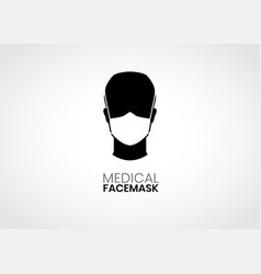 person wearing medical face mask vector image