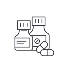 pills line icon concept pills linear vector image