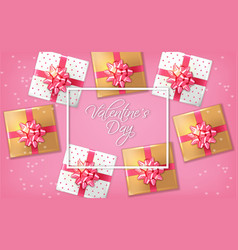 pink romantic card with gift boxes vector image