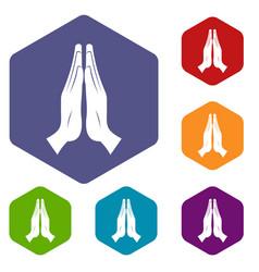 Prayer icons set hexagon vector