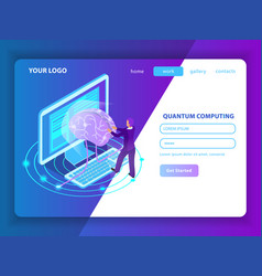 quantum computing landing page vector image