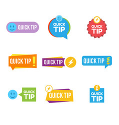 quick tips logo icon or symbol set with different vector image
