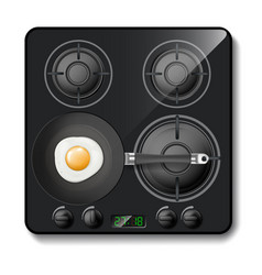 Realistic gas stove black modern cooktop vector