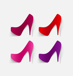 Realistic paper sticker shoes vector
