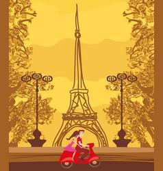 Romantic couple in paris vector