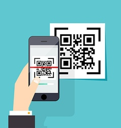 Scan qr code to mobile phone electronic vector