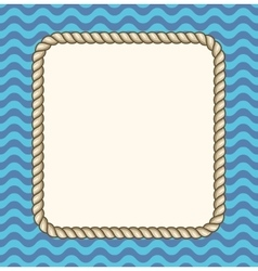 Sea waves background with a rope frame vector