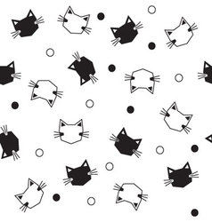Seamless black and white cats pattern vector image