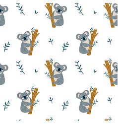 Seamless modern childish pattern with cute koala vector