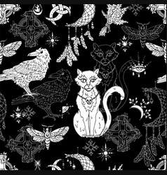 seamless pattern with mystic animals vector image