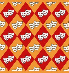 seamless pattern with rhombus and theater masks vector image