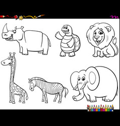 Set animal characters color book vector