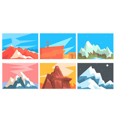 set cards with mountains in origami style vector image
