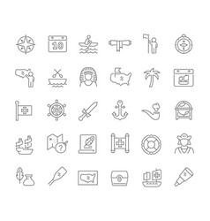 Set line icons columbus day vector