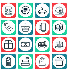 Set of 16 ecommerce icons includes mobile service vector
