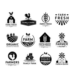 set organic products logos vector image