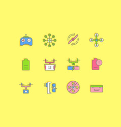 Set simple line icons drone vector