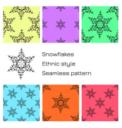set snowflakes ethnic style colored backgrounds vector image