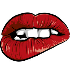 Sexy woman cartoon mounth with red lips vector