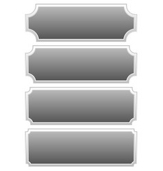 Silver metal plaques plaquettes plates with blank vector