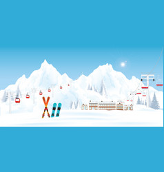 ski resort with cable cars or aerial lift and vector image