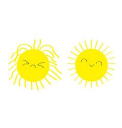 Sleepy wake up sun shining icon set kawaii face vector