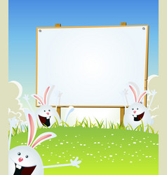 Spring easter bunnies message on wood sign vector