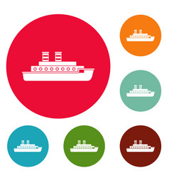 Steamship icons circle set vector