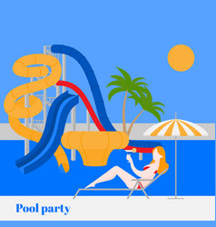 summer pool party in water park with slides vector image