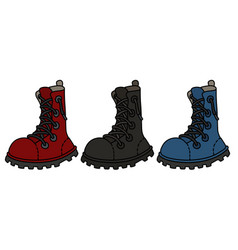 three funny color leather boots vector image