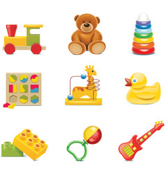 toy icons baby toys vector image