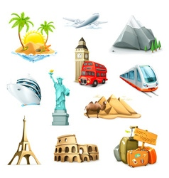 Travel set icons vector