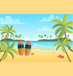 tropical beach with surfboards landscape vector image