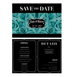 Turquoise black background wedding invitation vector