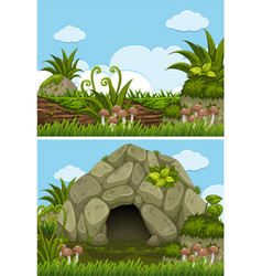 two background scenes with cave and log vector image