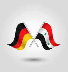 Two crossed german and syrian flags on silver vector