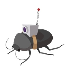 Video spy bug cartoon icon vector