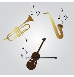 violin trumpet and saxophone icons eps10 vector image