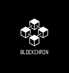 White blockchain technology concept icon vector