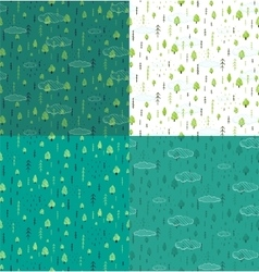 Wild Forest Hand Drawn Seamless Pattern Background vector image
