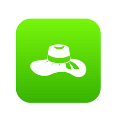 woman hat icon digital green vector image